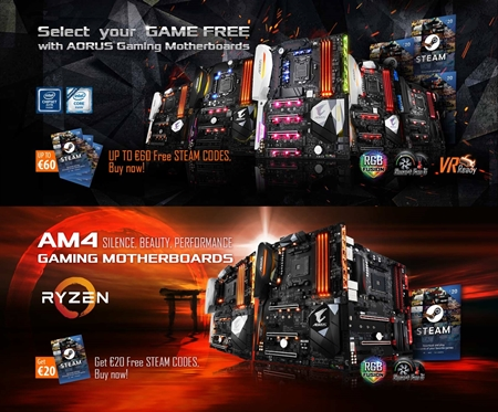 AORUS Gaming Motherboards Come with Fun- up to €60 Free Steam Codes!