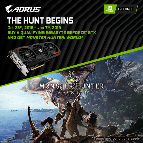 【APAC】Buy GIGABYTE NVIDIA GeForce GTX 1060, 1070 and 1070 Ti graphics card and get  Monster Hunter World game for FREE!